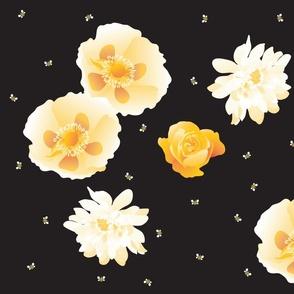 flowersnbees-black