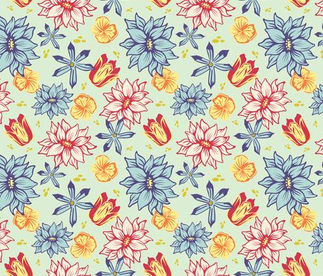Tulips And Scillas fabric by rainink on Spoonflower - custom fabric