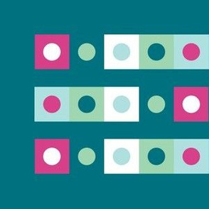 Dots and Squares on Teal