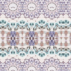 Trendy Purple Teal Floral Kaleidoscope Pattern