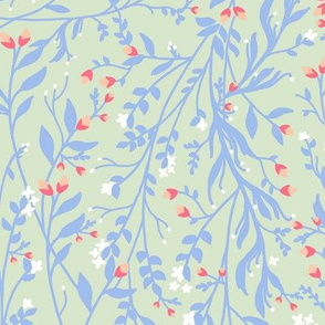 Regency Floral in Lavender Peach Mint