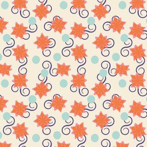 Abstract flowers, dots, and swirls on cream
