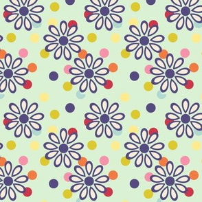 Hippie daisies and dots on pale green