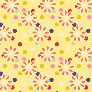 Hippie daisies and dots on yellow