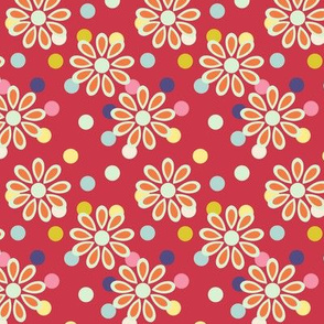 Hippie daisies and dots on red