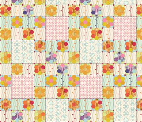 spring-floral-quilt-block-v6 fabric by nichoel on Spoonflower - custom fabric