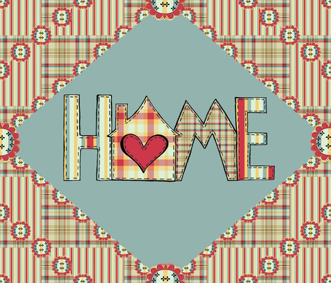 Cozy Home Quilt Panel fabric by judyjo on Spoonflower - custom fabric