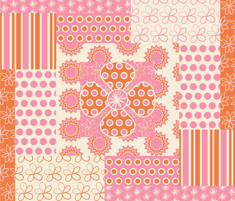 Spring Floral Cheater Quilt Block fabric by smuk on Spoonflower - custom fabric