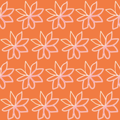 Spring Floral Pink Flowers on Orange