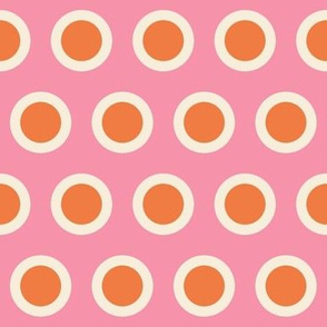 Spring Floral Pink Orange Polka Dot