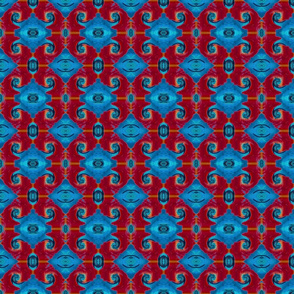 Red Blue Ornate Pattern