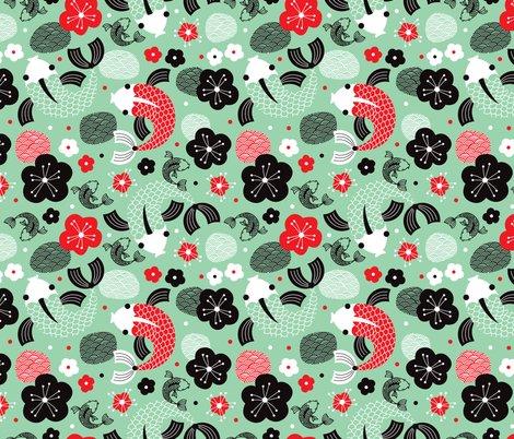 Japanese koi fish illustration fabric littlesmilemakers for Koi fish print fabric