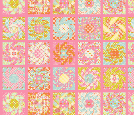 """Spring Floral Cheater Quilt Block"" fabric by nadja_petremand on Spoonflower - custom fabric"