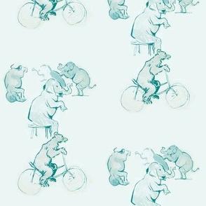 trois elephants et ours a bicyclette