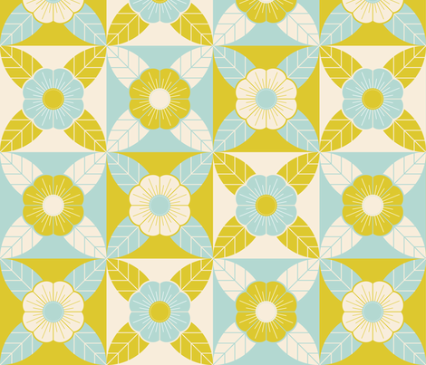 Geometric Floral Cheater fabric by lunasol on Spoonflower - custom fabric