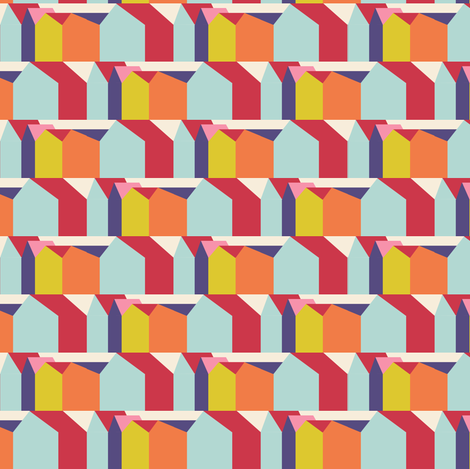 Stripey Houses fabric by joybucket on Spoonflower - custom fabric