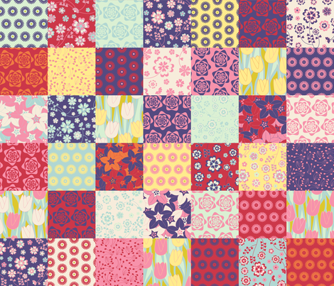 Cheater Quilt Spring Patchwork Squares fabric by jillodesigns on Spoonflower - custom fabric