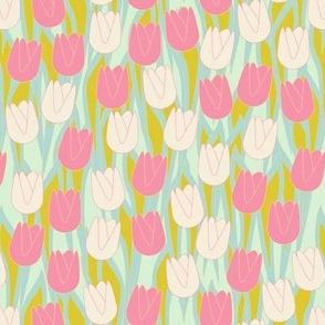 Tulips Rose and Ecru