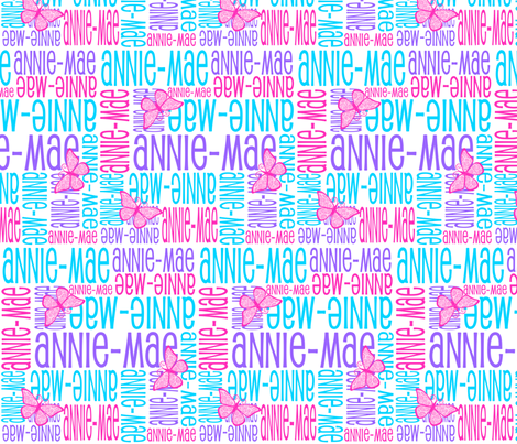 Personalised Name Design - Butterflies Purple Pink Aqua