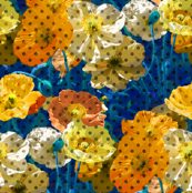 Psychedelic Polka Poppies - Gold