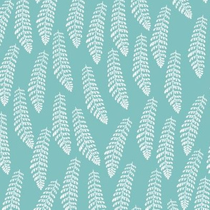 White Fern on Eucalyptus Blue Green