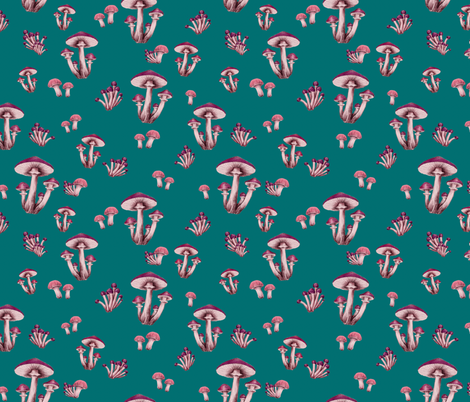 Forest Floor in Teal & Magenta fabric by thistleandfox on Spoonflower - custom fabric
