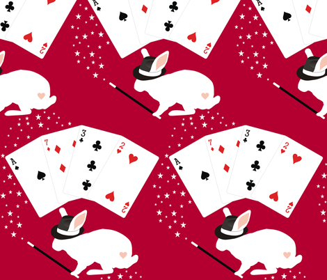 Rabbit in Hat Does Card Tricks fabric by smuk on Spoonflower - custom fabric
