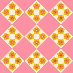Flower Cross Patch   v2  -Spring Floral Quilt palette