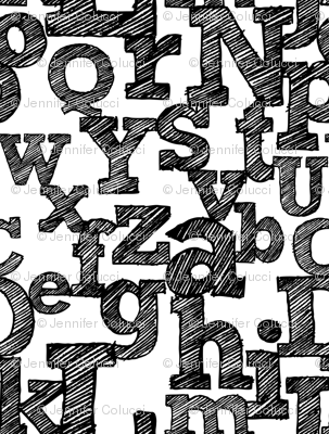 Sketched Alphabet on White