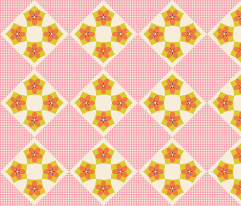 Flower Cross Patch   v3  -Spring Floral Quilt palette fabric by fireflower on Spoonflower - custom fabric