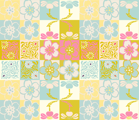 Spring Floral Patchwork Cheater Quilt fabric by lisakling on Spoonflower - custom fabric