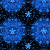 Black and blue floral pattern