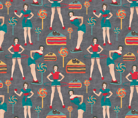 pin ups get fit fabric by kociara on Spoonflower - custom fabric