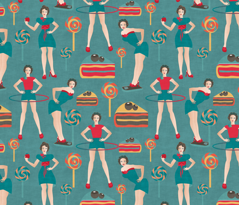 pin up fitness fabric by kociara on Spoonflower - custom fabric