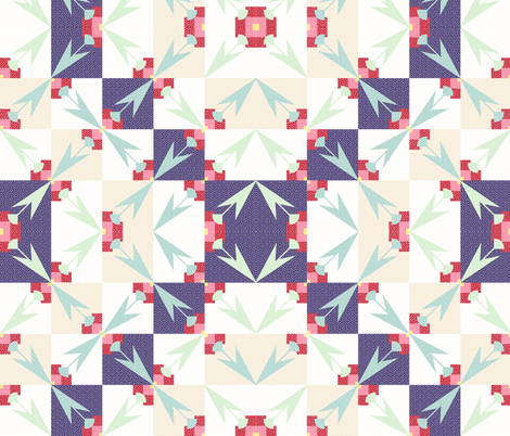 spring tulips mirrored quilt fabric by glimmericks on Spoonflower - custom fabric