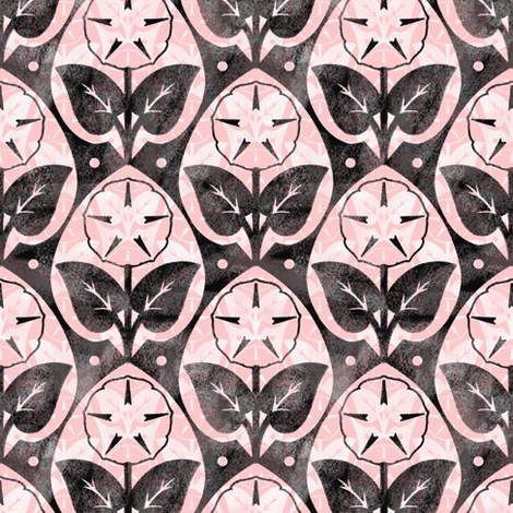 Musk~Mallow ~ Chalk and Watercolor ~ Dauphine, Black and White  fabric by peacoquettedesigns on Spoonflower - custom fabric