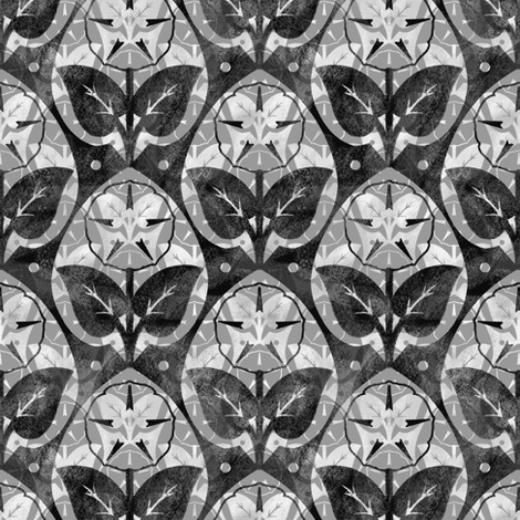 Musk~Mallow ~ Chalk and Watercolor ~ Pewter, Black and White  fabric by peacoquettedesigns on Spoonflower - custom fabric