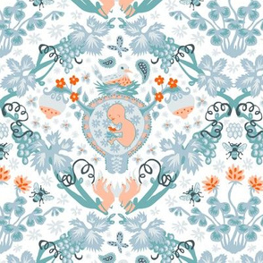 Fertility Damask, orange and teal