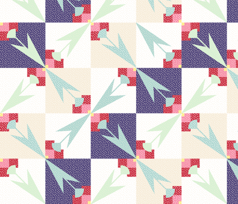 Spring Tulips Cheater Quilt - 4x4