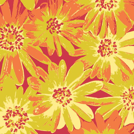 Yellow Anenomes in Spring Quilt colors fabric by weavingmajor on Spoonflower - custom fabric