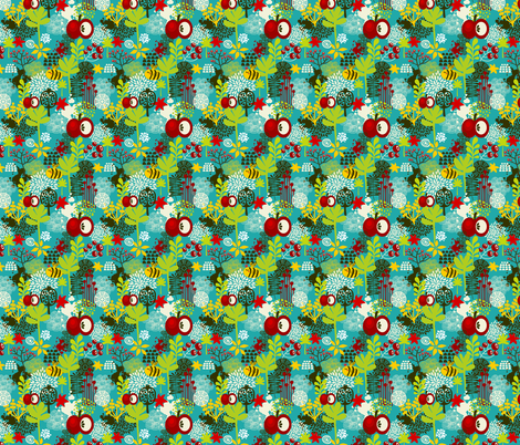 Bee and apple. fabric by panova on Spoonflower - custom fabric