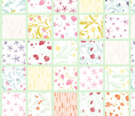 Fiori di campo cheater quilt fabric by aliceelettrica on Spoonflower - custom fabric
