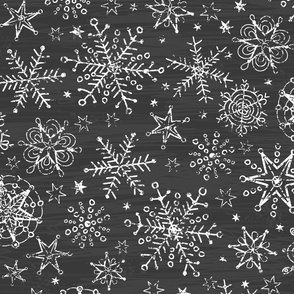 Chalk snowflakes on blackboard