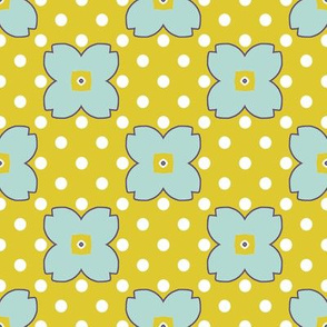 Spring Quilt Block Dots and Flowers Coordinate