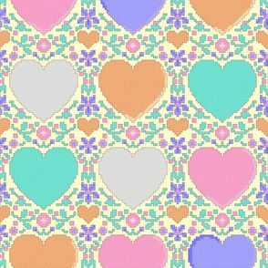 Candy hearts cross stitch - no words