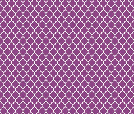 moroccan quatrefoil lattice white on plum