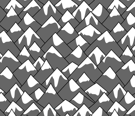 Mountain peaks gray fabric spacefem spoonflower for Space mountain fabric