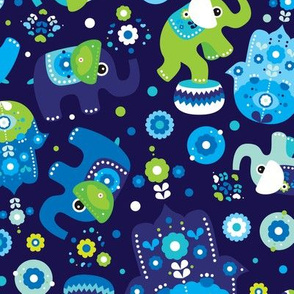 Blue boy elephant and hand of fatima pattern
