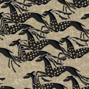 Wild galloping gazelles on fawn