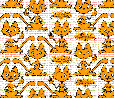 Kitty Makes Resolutions for 2013 fabric by chantal_pare on Spoonflower - custom fabric